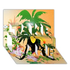 Cute Toucan With Palm And Flowers TAKE CARE 3D Greeting Card (7x5)