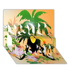 Cute Toucan With Palm And Flowers You Rock 3D Greeting Card (7x5)