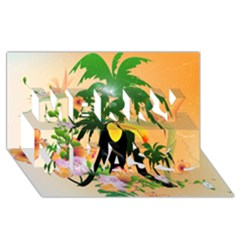 Cute Toucan With Palm And Flowers Merry Xmas 3D Greeting Card (8x4)