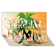 Cute Toucan With Palm And Flowers Congrats Graduate 3D Greeting Card (8x4)