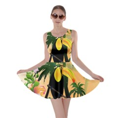 Cute Toucan With Palm And Flowers Skater Dresses
