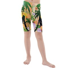 Cute Toucan With Palm And Flowers Kid s swimwear