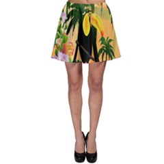 Cute Toucan With Palm And Flowers Skater Skirts