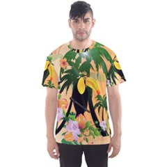 Cute Toucan With Palm And Flowers Men s Sport Mesh Tees