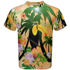 Cute Toucan With Palm And Flowers Men s Cotton Tees