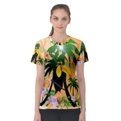 Cute Toucan With Palm And Flowers Women s Sport Mesh Tees