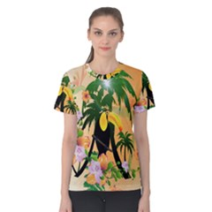 Cute Toucan With Palm And Flowers Women s Cotton Tees