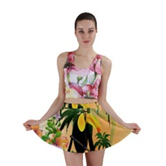Cute Toucan With Palm And Flowers Mini Skirts