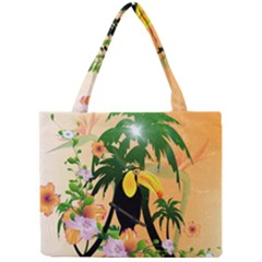 Cute Toucan With Palm And Flowers Tiny Tote Bags