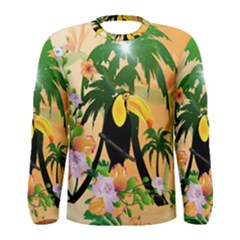 Cute Toucan With Palm And Flowers Men s Long Sleeve T-shirts