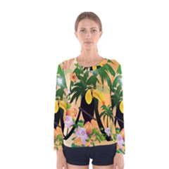 Cute Toucan With Palm And Flowers Women s Long Sleeve T-shirts
