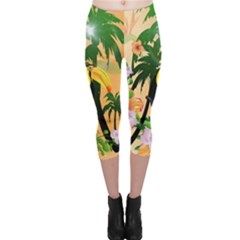 Cute Toucan With Palm And Flowers Capri Leggings