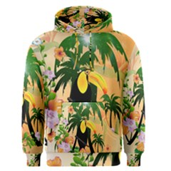 Cute Toucan With Palm And Flowers Men s Pullover Hoodies