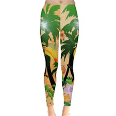 Cute Toucan With Palm And Flowers Winter Leggings