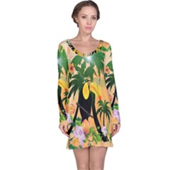 Cute Toucan With Palm And Flowers Long Sleeve Nightdresses