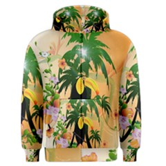 Cute Toucan With Palm And Flowers Men s Zipper Hoodies