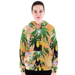 Cute Toucan With Palm And Flowers Women s Zipper Hoodies