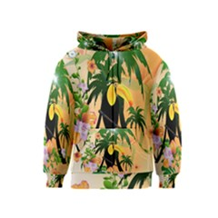 Cute Toucan With Palm And Flowers Kids Zipper Hoodies