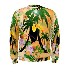 Cute Toucan With Palm And Flowers Men s Sweatshirts