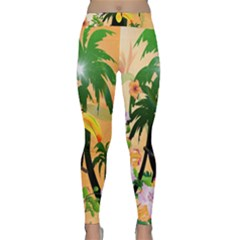 Cute Toucan With Palm And Flowers Yoga Leggings