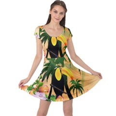 Cute Toucan With Palm And Flowers Cap Sleeve Dresses