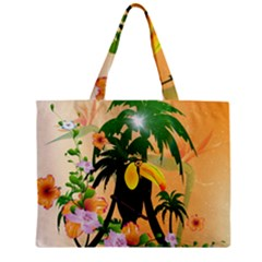 Cute Toucan With Palm And Flowers Zipper Tiny Tote Bags