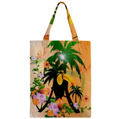 Cute Toucan With Palm And Flowers Zipper Classic Tote Bags