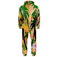 Cute Toucan With Palm And Flowers Hooded Jumpsuit (Men)