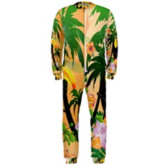 Cute Toucan With Palm And Flowers OnePiece Jumpsuit (Men)