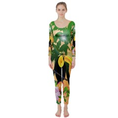 Cute Toucan With Palm And Flowers Long Sleeve Catsuit