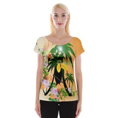 Cute Toucan With Palm And Flowers Women s Cap Sleeve Top