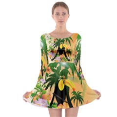 Cute Toucan With Palm And Flowers Long Sleeve Skater Dress