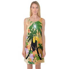 Cute Toucan With Palm And Flowers Sleeveless Satin Nightdresses