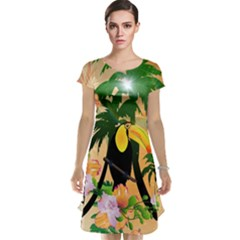 Cute Toucan With Palm And Flowers Cap Sleeve Nightdresses