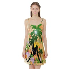 Cute Toucan With Palm And Flowers Satin Night Slip