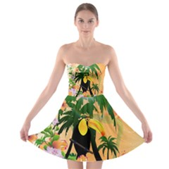 Cute Toucan With Palm And Flowers Strapless Bra Top Dress