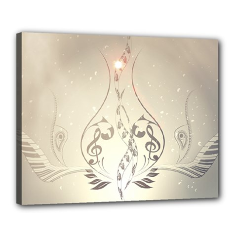 Music, Piano With Clef On Soft Background Canvas 20  x 16