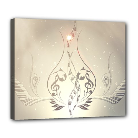 Music, Piano With Clef On Soft Background Deluxe Canvas 24  x 20