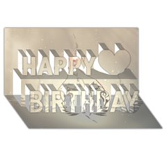 Music, Piano With Clef On Soft Background Happy Birthday 3d Greeting Card (8x4)