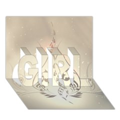 Music, Piano With Clef On Soft Background GIRL 3D Greeting Card (7x5)