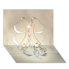 Music, Piano With Clef On Soft Background Clover 3D Greeting Card (7x5)