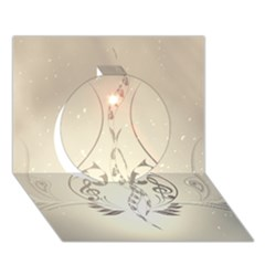 Music, Piano With Clef On Soft Background Circle 3D Greeting Card (7x5)