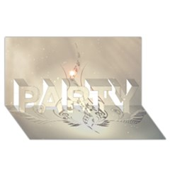 Music, Piano With Clef On Soft Background Party 3d Greeting Card (8x4)