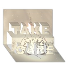 Music, Piano With Clef On Soft Background TAKE CARE 3D Greeting Card (7x5)