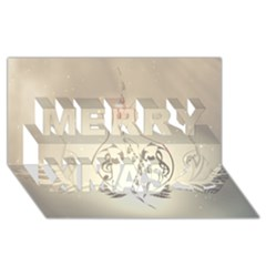 Music, Piano With Clef On Soft Background Merry Xmas 3D Greeting Card (8x4)