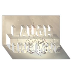 Music, Piano With Clef On Soft Background Laugh Live Love 3D Greeting Card (8x4)