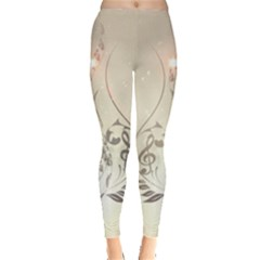 Music, Piano With Clef On Soft Background Women s Leggings