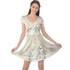Music, Piano With Clef On Soft Background Cap Sleeve Dresses