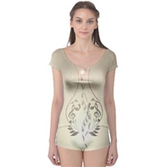 Music, Piano With Clef On Soft Background Short Sleeve Leotard