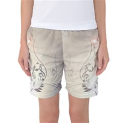 Music, Piano With Clef On Soft Background Women s Basketball Shorts